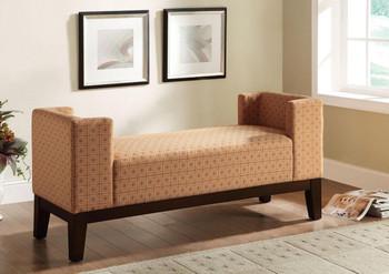 Carpus Burnt Orange Geometric Pattern Fabric Bench