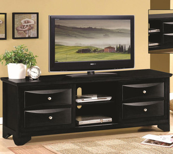Mace Black Tv Stand with Chambered Drawer Fronts