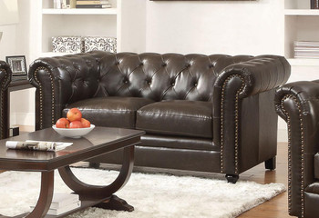 Eighty-Eight Brown Leather Loveseat