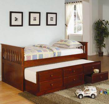 Embry Brown Trundle Bed with Storage Drawers