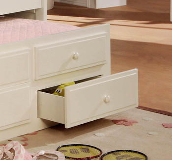 Embry White Trundle Bed with Storage Drawers