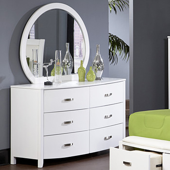 Monet Glossy White Dresser & Mirror