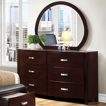 Monet Glossy Espresso Dresser & Mirror