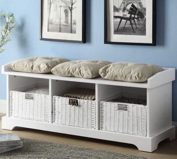 Murietta White Storage Bench with Baskets