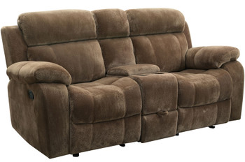 Holden Mocha Reclining Loveseat with Console