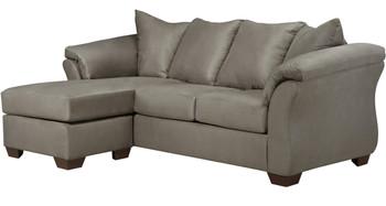 Edeline Gray Plush Sofa Chaise