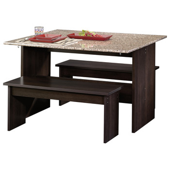 Origins Espresso Trestle Table with Benches