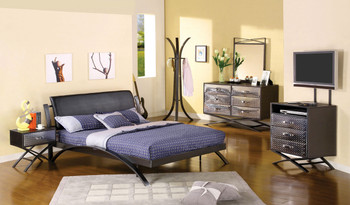 Caius Black Metal Platform Bed