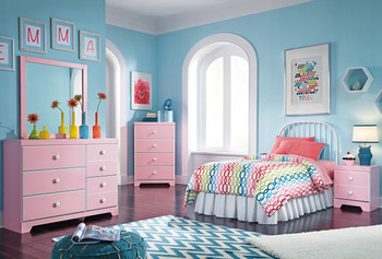 Ritzi Pink Metal Bedroom Set