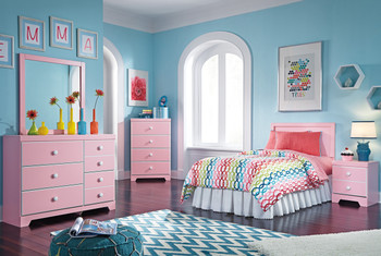 Ritzi Pink Headboard Bedroom Set