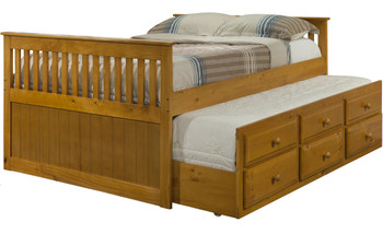 Hilda Honey Trundle Bed with Drawers