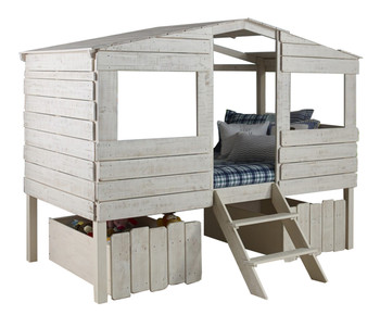 Bess Rustic Sand Tree House Loft Bed W/Drawers