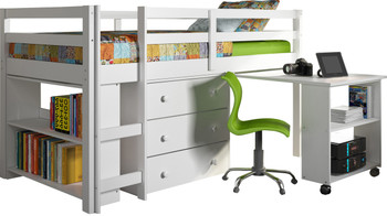 Brad White Low Loft w/ Roll Out Desk and Storage