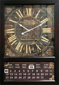 Kenri Black Wall Clock with Calendar