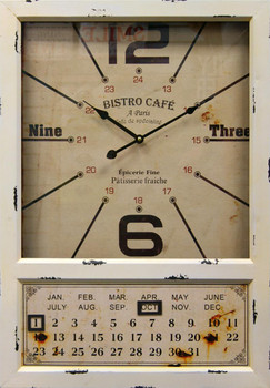 Kenri White Wall Clock with Calendar