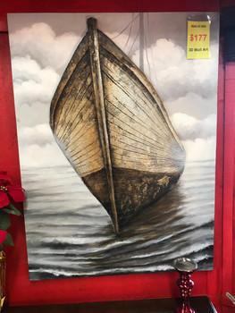 """Boat at Sea 35"""" x 48"""" 3D Wall Art"""
