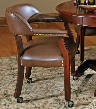 Showdown Brown Arm Chair with Casters