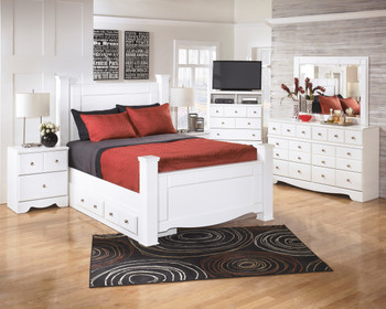 Dominic White Poster Bed