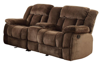 Cordaroy Chocolate Plush Reclining Loveseat