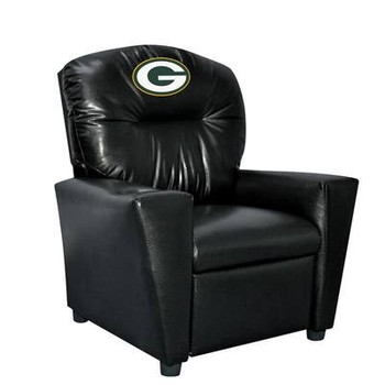 Green Bay Packers Black Faux Leather Kids Recliner