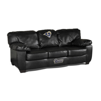 Los Angeles Rams Black Leather Sofa