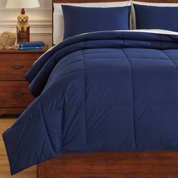 Plainfield Navy Top of Bed Set