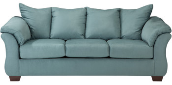 Edeline Sky Blue Plush Sofa