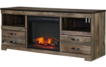 Benni Warm Rustic TV Stand With Fireplace