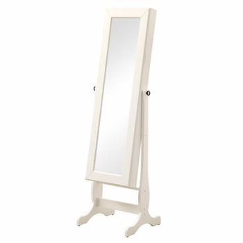 Idonia White Floor Mirror with Jewelry Storage