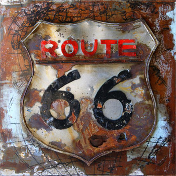 3D Route 66 Metal Wall Art
