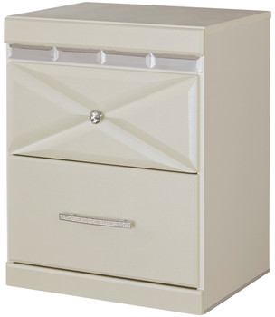 Rizvon Champagne Night Stand with USB Port