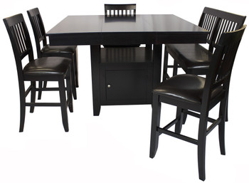 Lenox Black Brown 6 Piece Counter Height Set