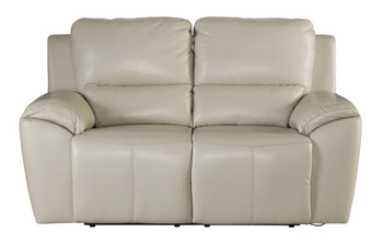 Erwan Beige Leather Reclining Loveseat