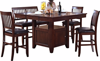 Lenox Brown 6 Piece Counter Height Set
