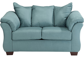 Edeline Sky Blue Plush Loveseat