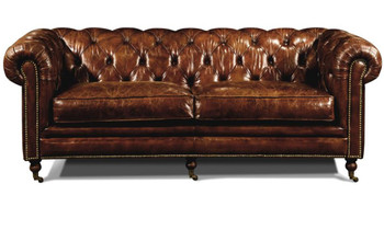 Christopher Brown Top Grain Leather Tufted Sofa