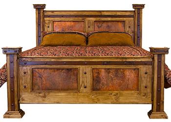 Brock Rustic/Copper Panel Bed