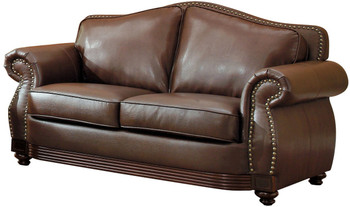 Butch Brown Bonded Leather Loveseat
