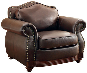 Butch Brown Bonded Leather Arm Chair