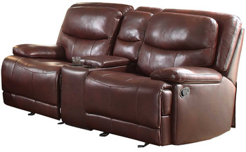 Elliott Burgundy Breathable Faux Leather Glider Reclining Loveseat