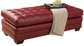 Julian Red Bonded Leather Oversized Ottoman