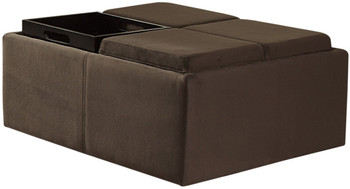Oliver Dark Brown Ottoman With Trays & Casters