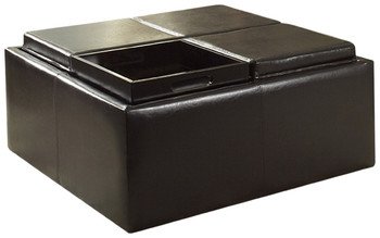 Oliver Dark Brown Bi-Cast Vinyl Coffee Table With Trays & Casters