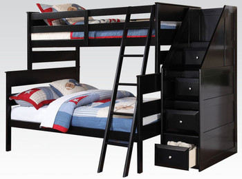 Bedford Black Twin/Full Storage Stairway Bunkbed