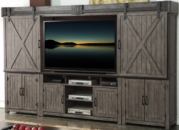 Cartwright Smoked Grey Entertainment Wall Unit with Sliding Doors