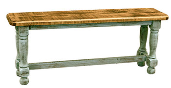 Provencia Turquoise Rustic Dining Bench