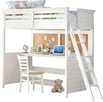 Brenda White Twin Loft Bed With Built-In Desk