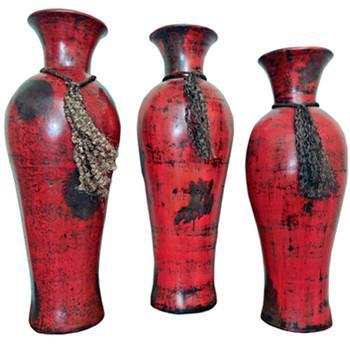 Rutila Red 3 Piece Vase Set