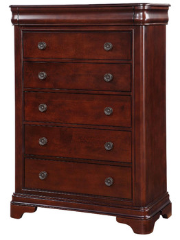 Selena Dark Cherry 5 Drawer Chest With Hidden Drawer