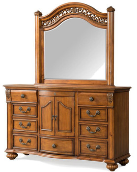 Everette Warm Oak Dresser/Mirror With Hidden Push Drawer